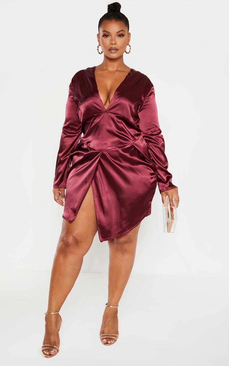 Plus Burgundy Satin Corset Bodycon Dress 4
