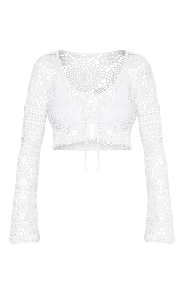 White Crochet Lace Tie Detail Crop Blouse 3