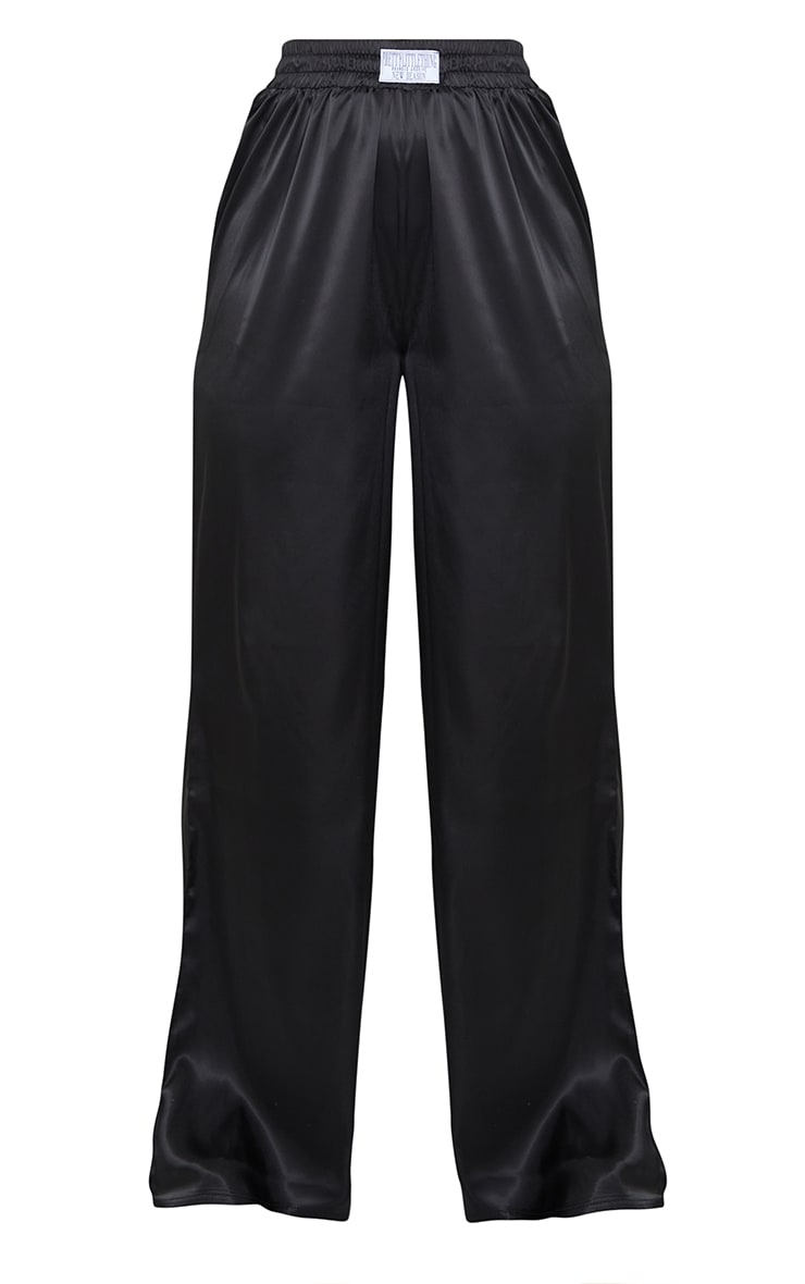 PRETTYLITTLETHING Black Badge Satin Wide Leg Trousers 5