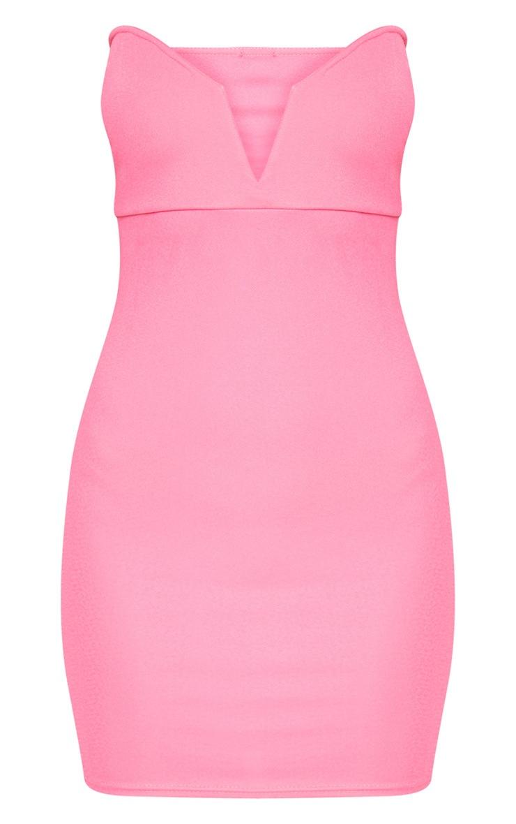Neon Pink Bandeau V Bar Bodycon Dress 3