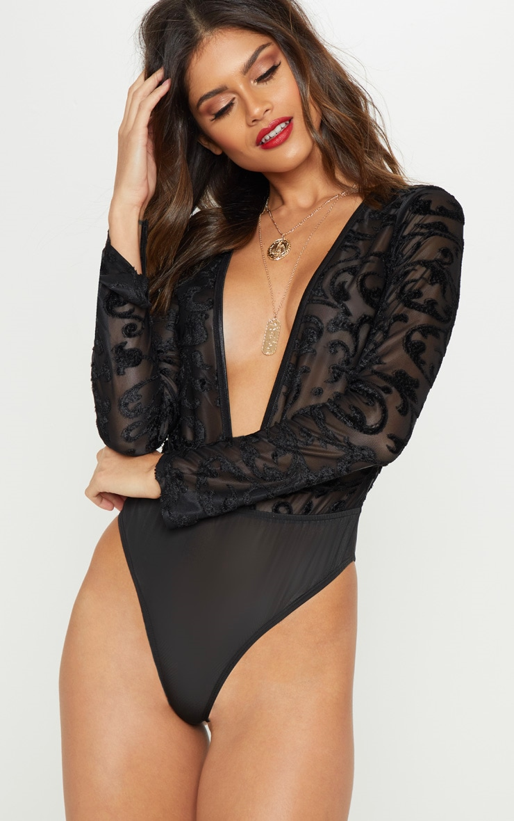 Black Devore Plunge Long Sleeve Bodysuit 2