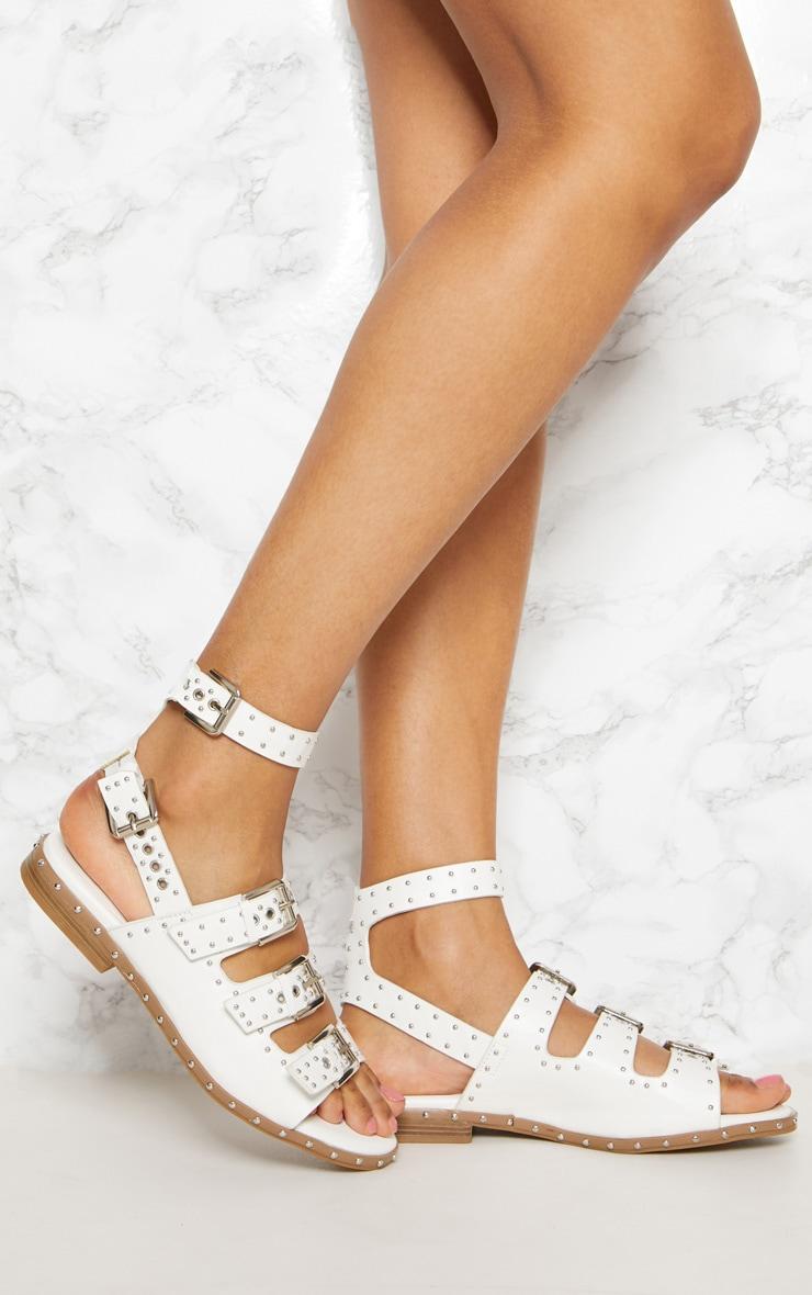 White Studded Buckle Sandal 1