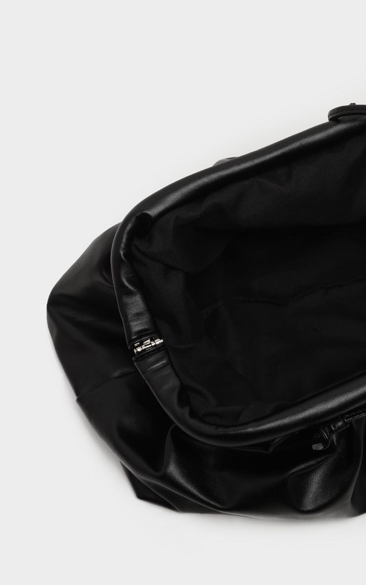 Black PU Ruched Oversized Clutch Bag 5