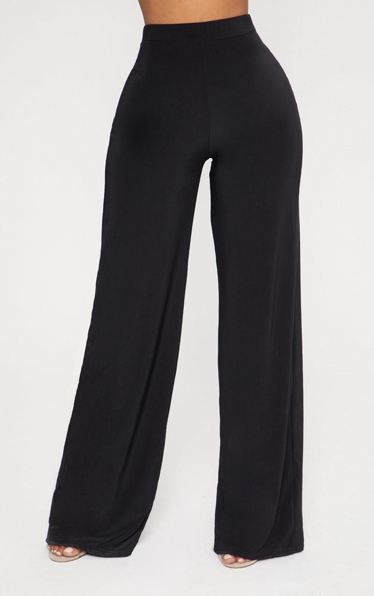 Shape Black Slinky High Waisted Wide Leg Trousers 2