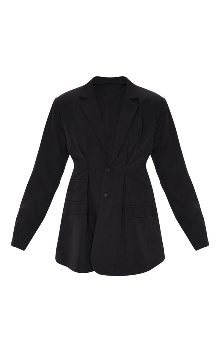 Black Woven Cinched Waist Shoulder Padded Blazer 3