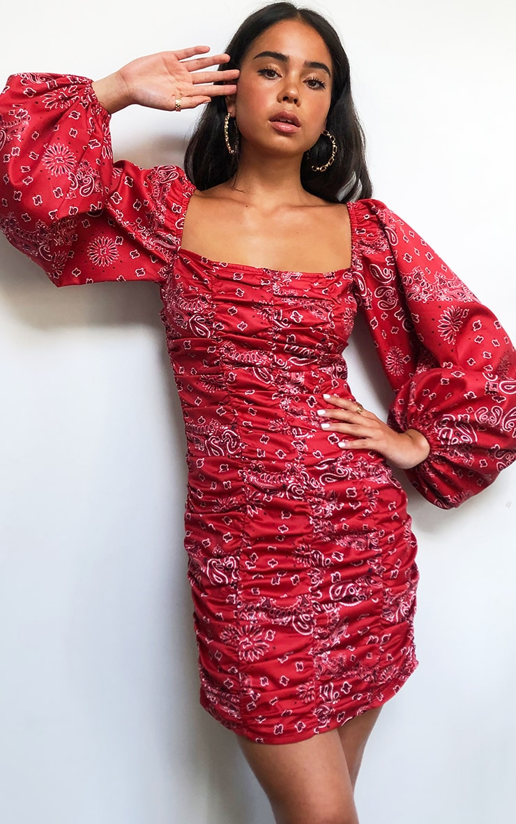 Red Bandana Balloon Sleeve Ruched Bodycon Dress 3