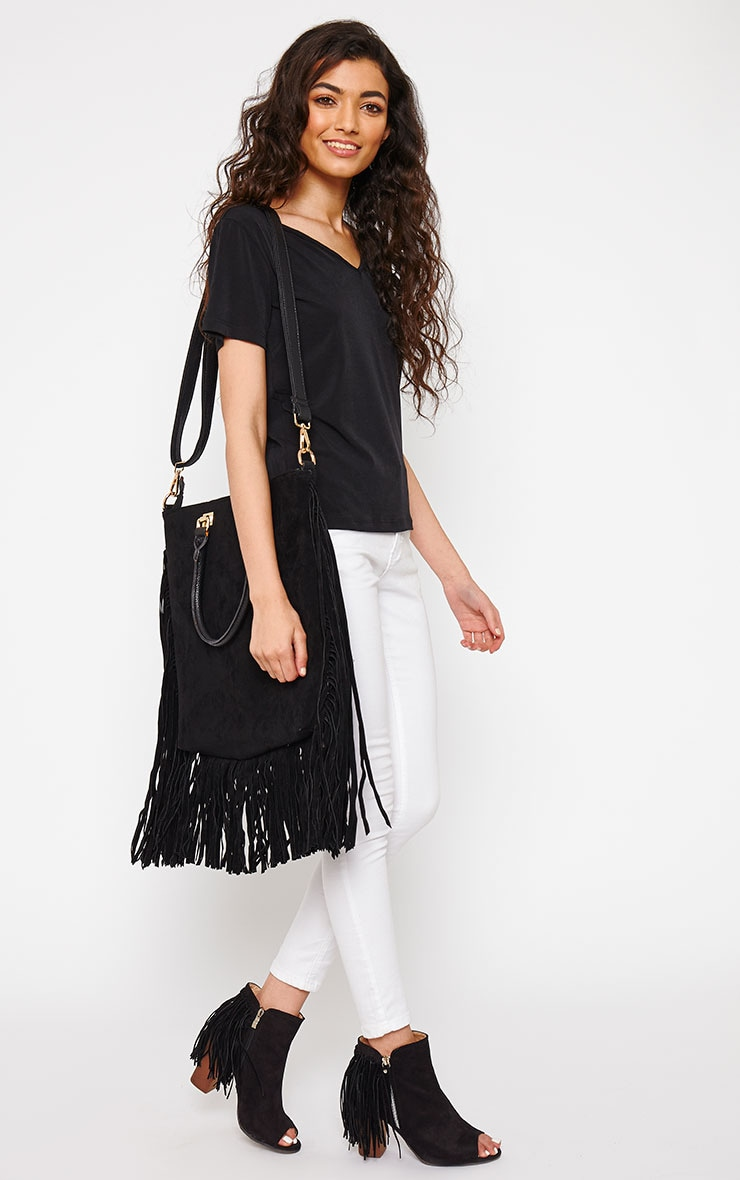 Emeli Black Suede Tassel Bag 2