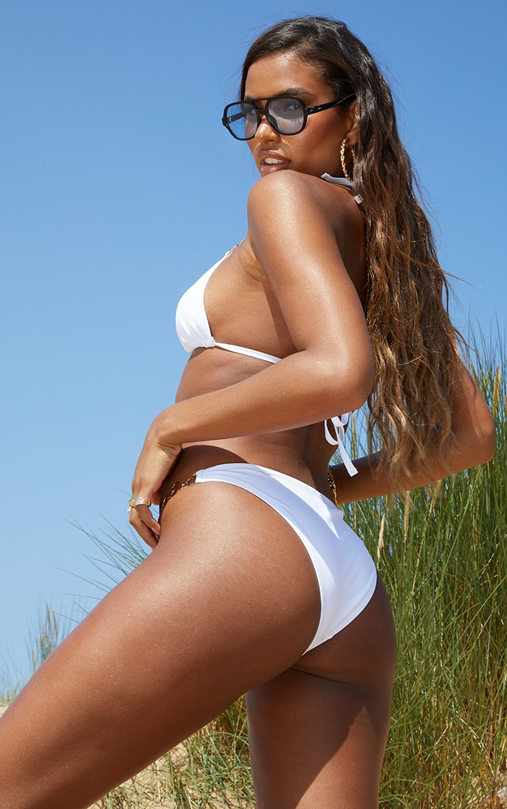 White Heart Strap Triangle Bikini Top 2