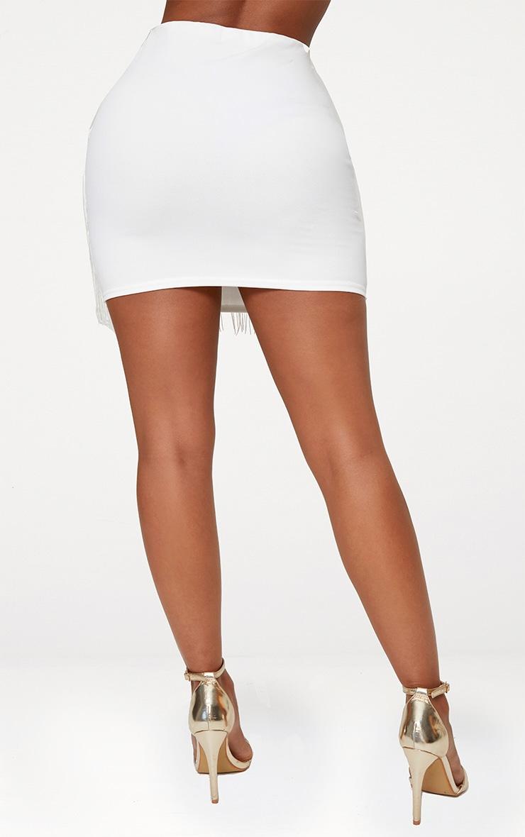 Shape Cream Tassel Mini Skirt 3