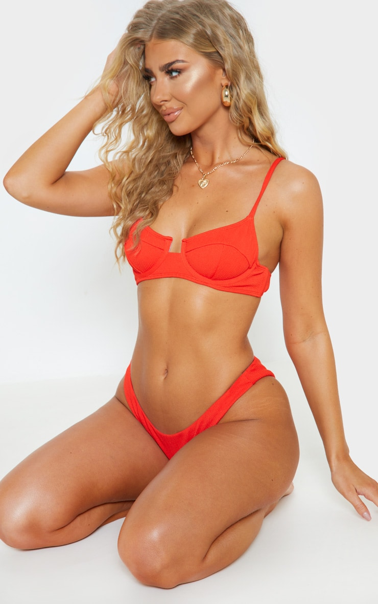 Red Underwired Crinkle Bikini Top 5