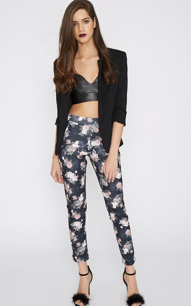 Navarro Navy Floral Trouser 1