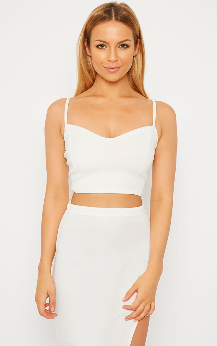 Savina Cream Cross Back Strap Crop Top 1