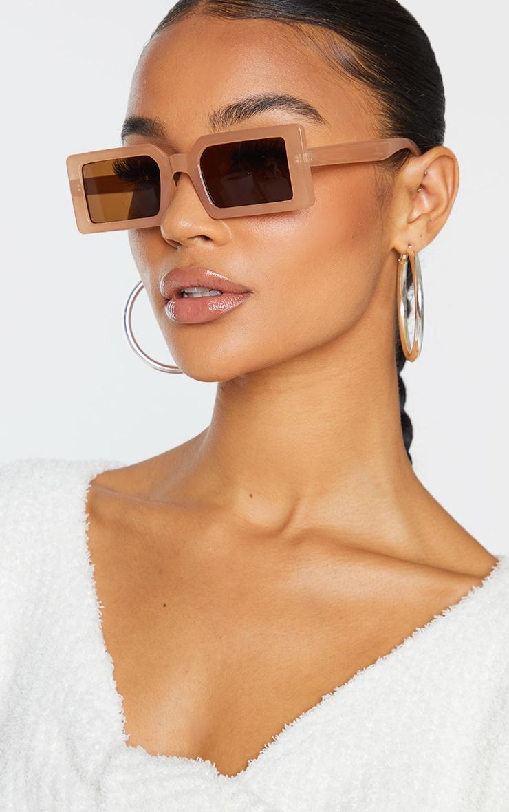 Taupe Square Frame Slimline Sunglasses 1
