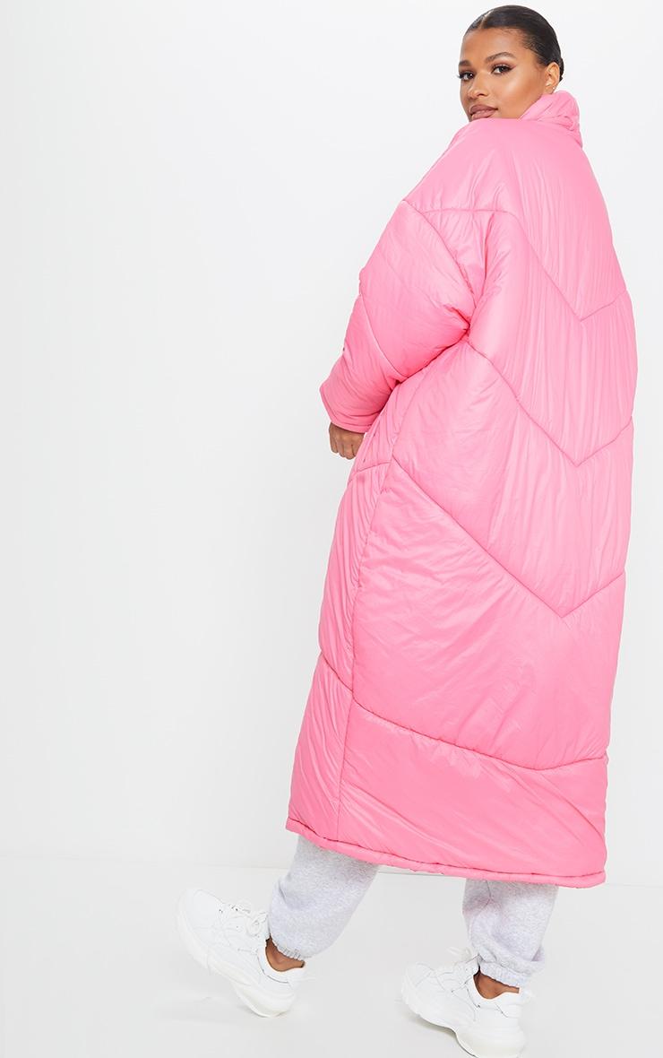 Dark Pink Midi Oversized Puffer Coat 2