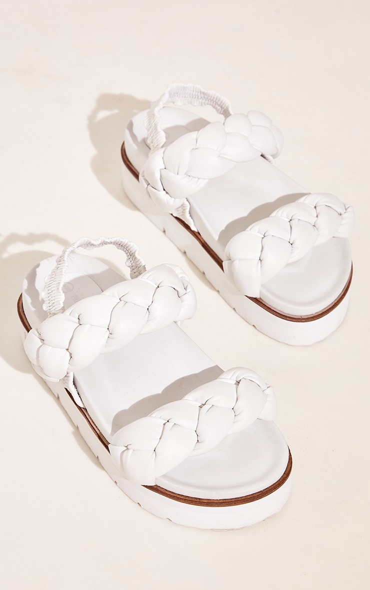 White Real Leather Platted Twin Strap Flatform Footbed Sandals 3
