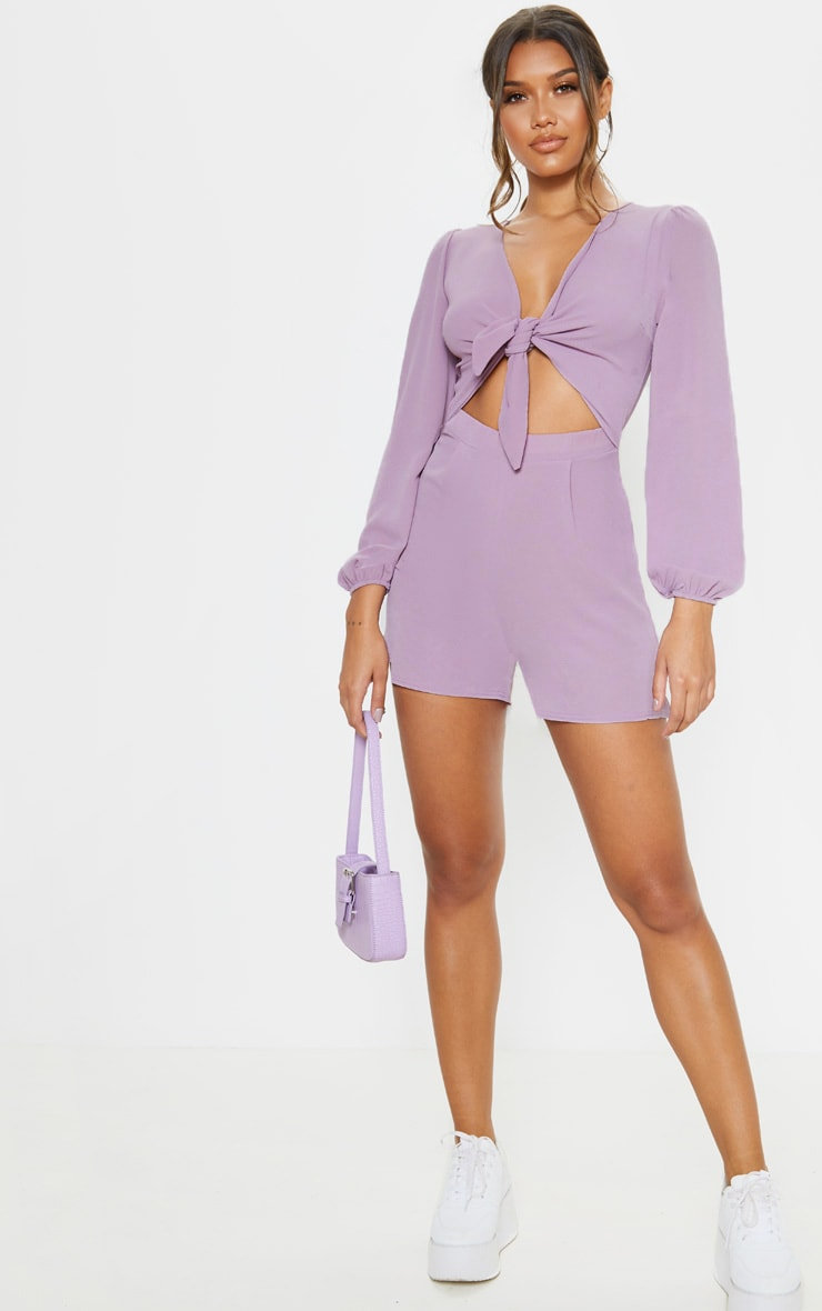 Lilac Tie Front Playsuit 4