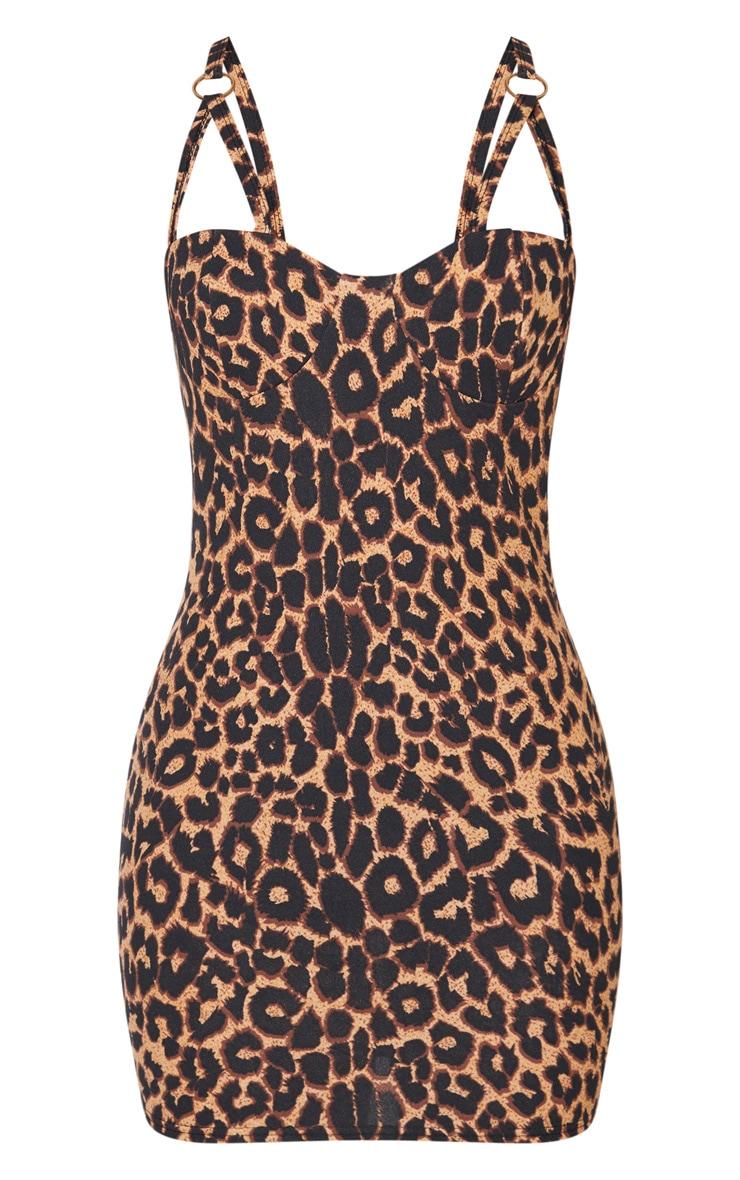 Robe moulante marron léopard à bretelles dédoublées et anneaux 3