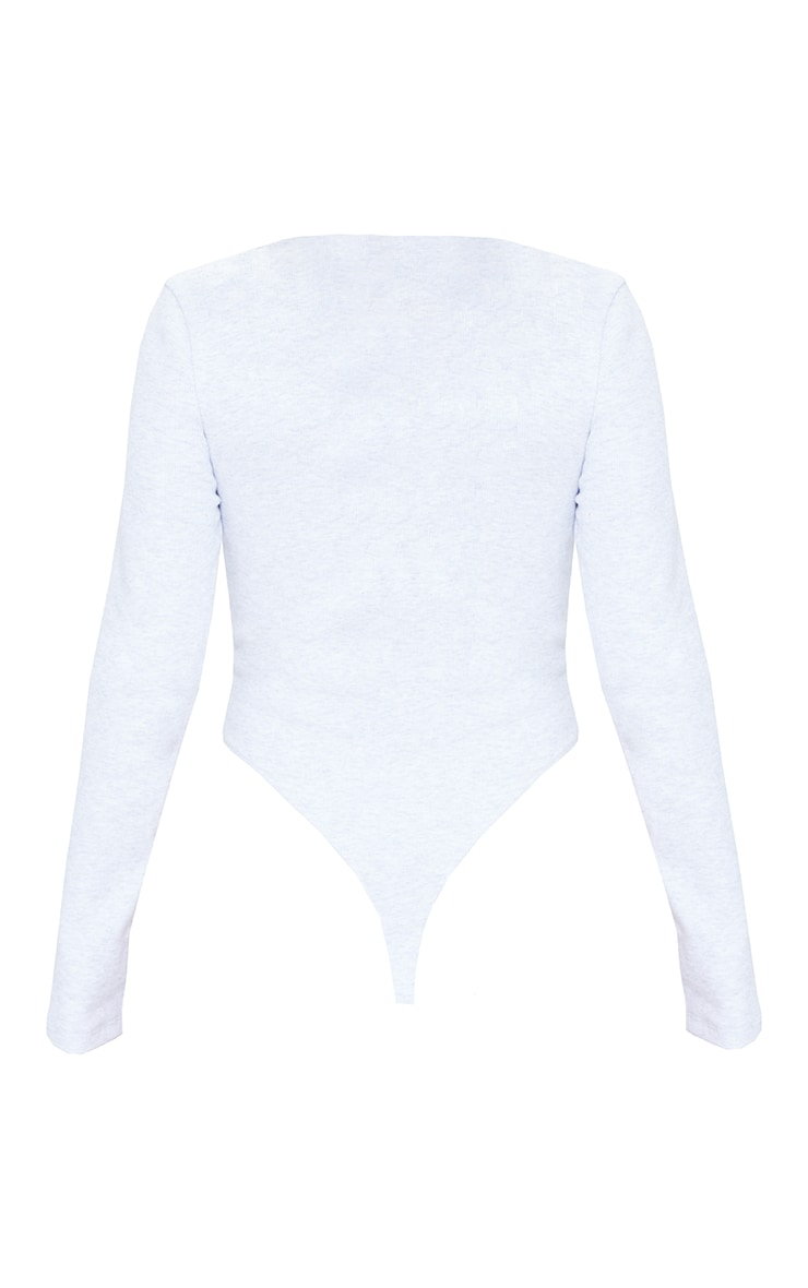 Grey Marl Rib New Season Round Neck Long Sleeve Bodysuit 5