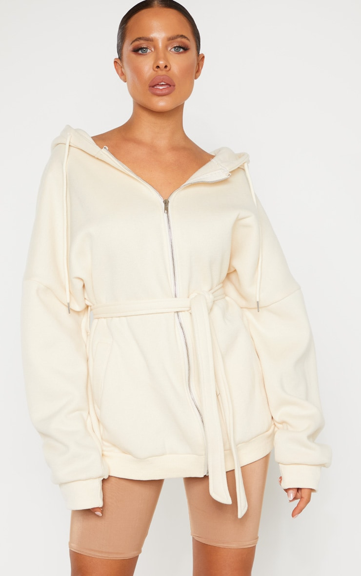 Cream Oversized Belted Sweat Hoodie 4