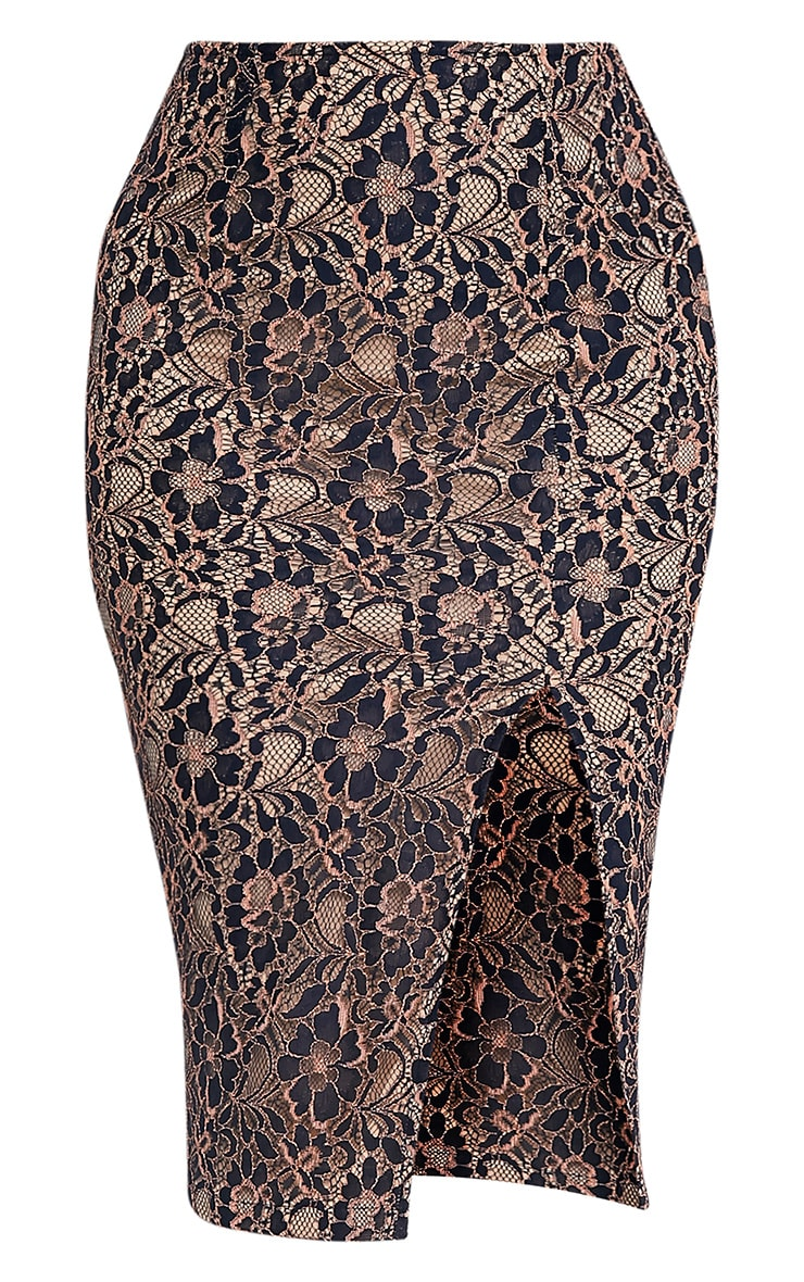 Lilybel Navy Lace Midi Skirt 3