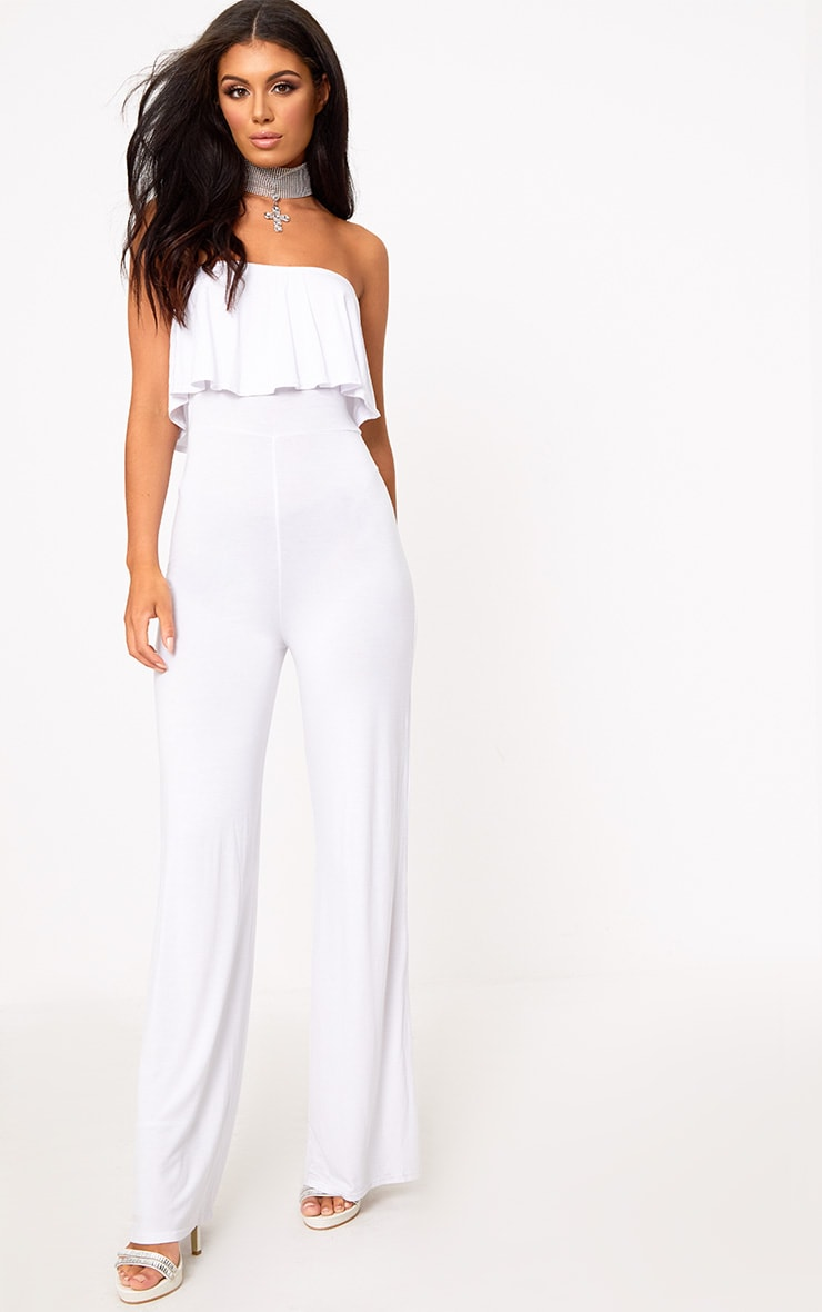 White Jersey Bandeau Frill Jumpsuit 1