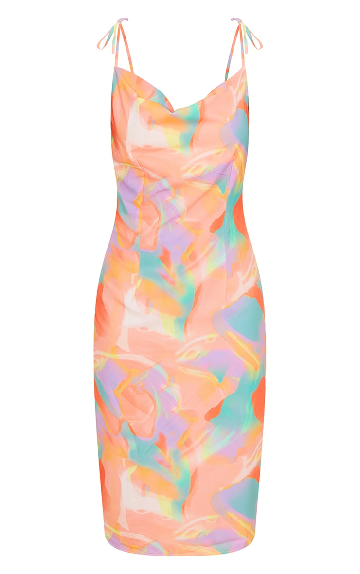 Orange Abstract Print Cowl Neck Tie Strap Midi Dress 5