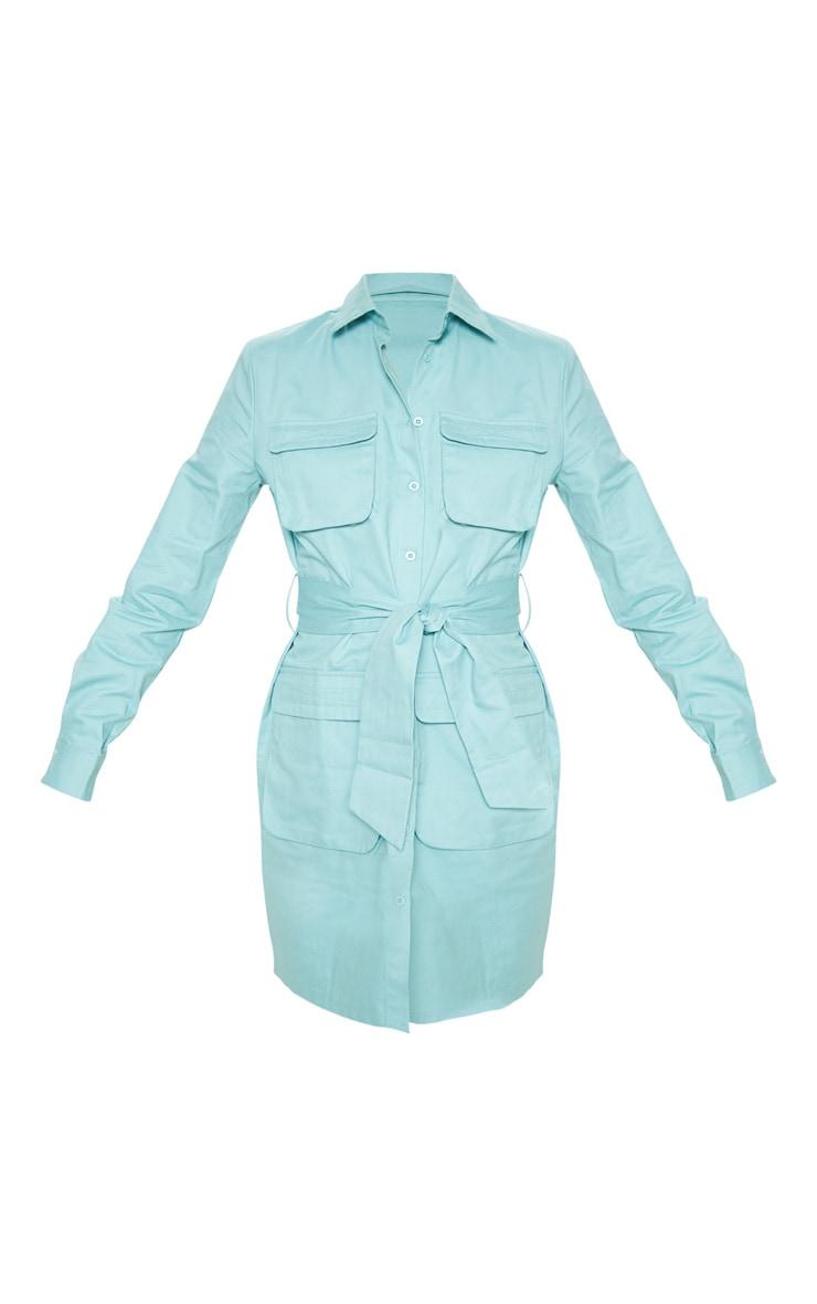 Tall Dusty Turquoise Utility Tie Waist Shirt Dress  3