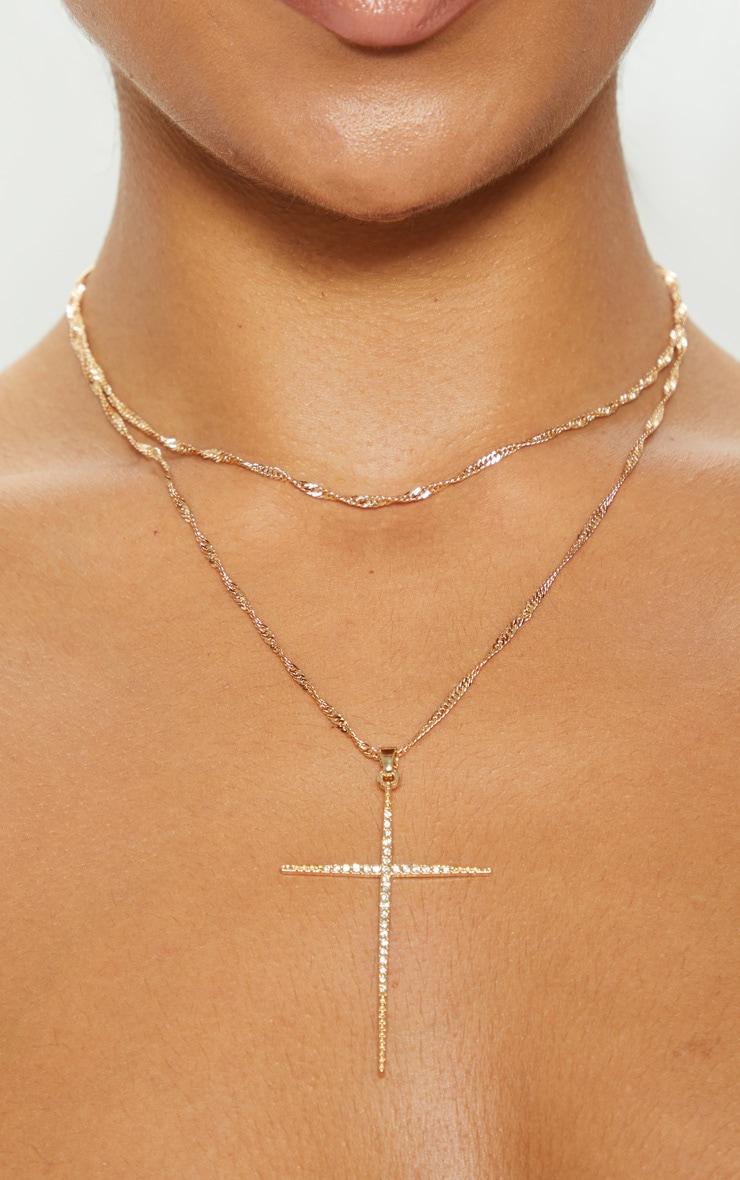 Collier superposé doré torsadé à pendentif croix 3