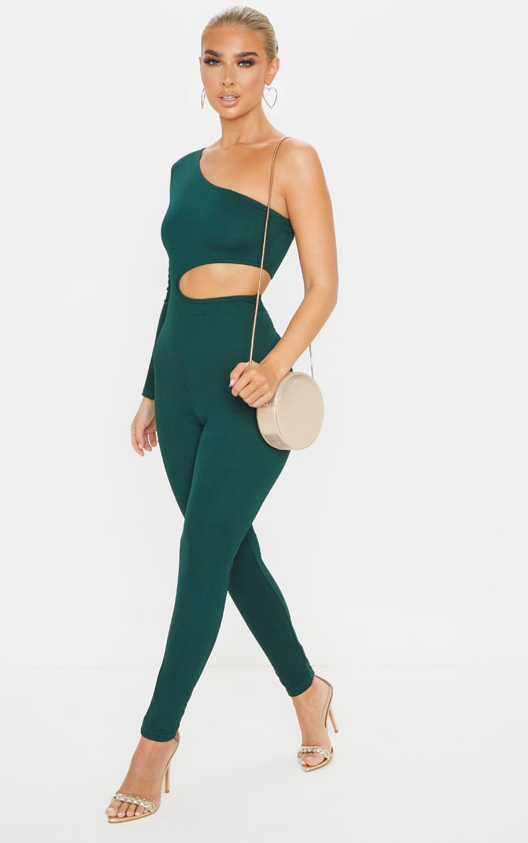 Emerald Green Long Sleeve Cut Out Jumpsuit 3