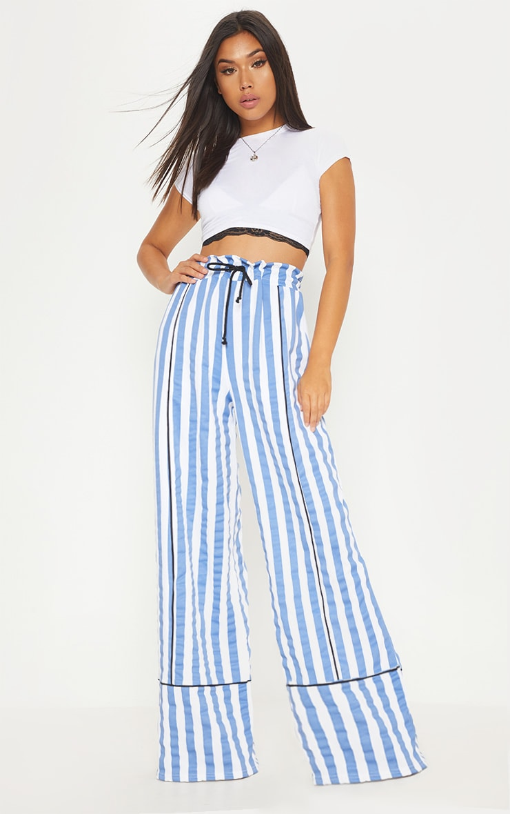 Blue Scuba Stripe Extreme Wide Leg Trouser by Prettylittlething