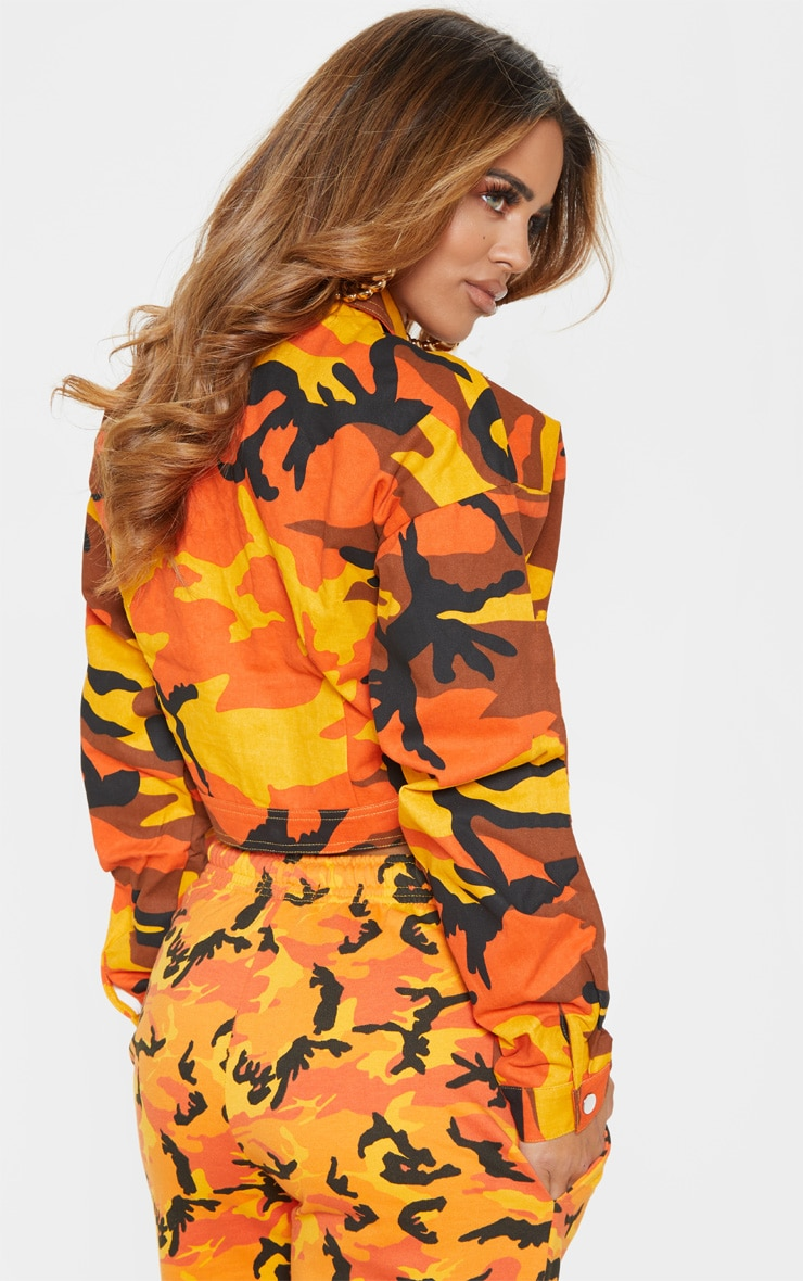 Petite Orange Cropped Camo Trucker Jacket 3