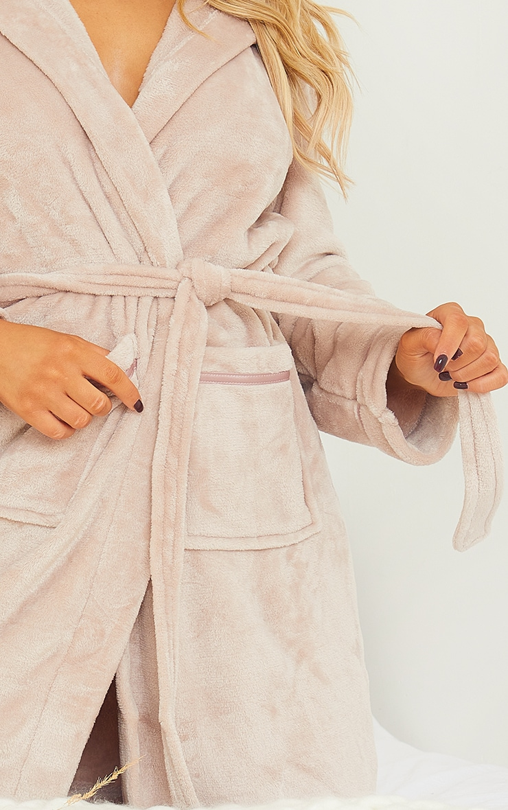 Mink Satin Trim Fleece Hooded Dressing Gown 4