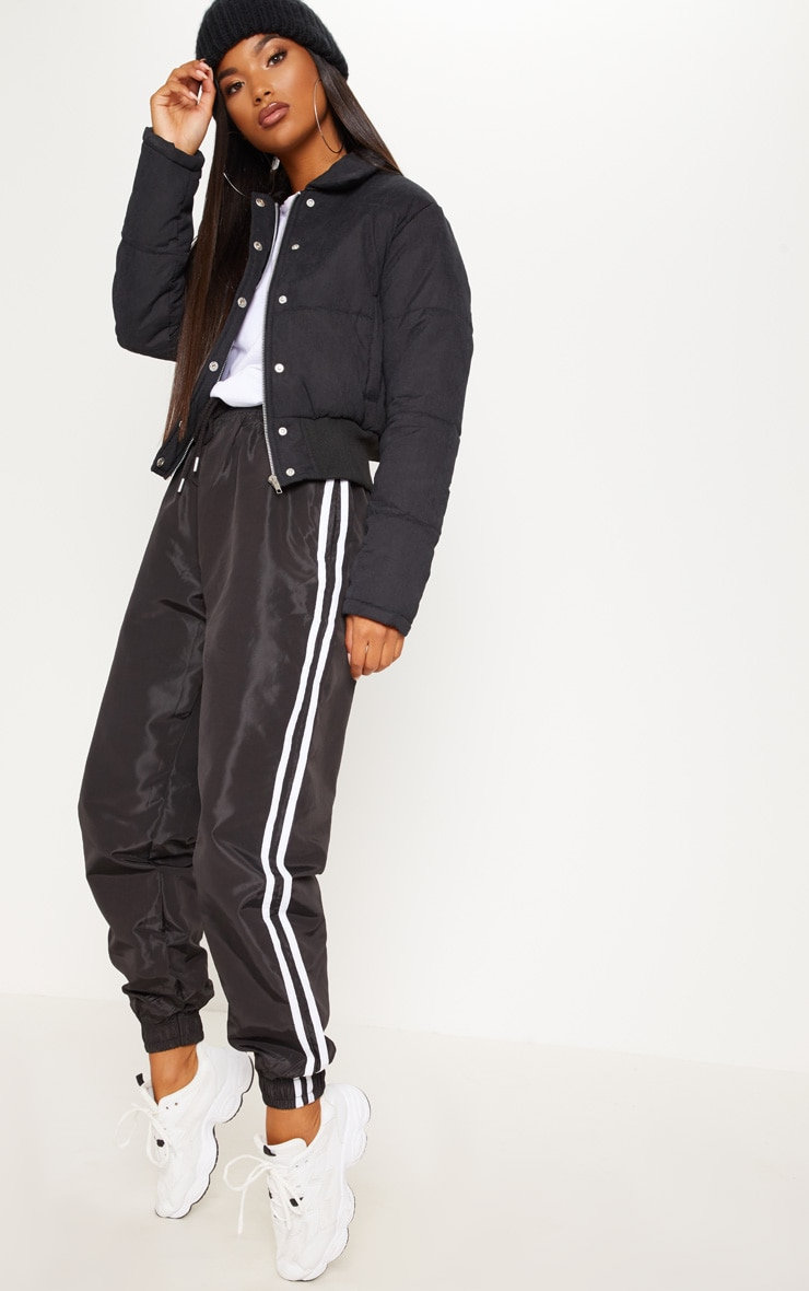 Black Peach Skin Cropped Puffer Jacket 4