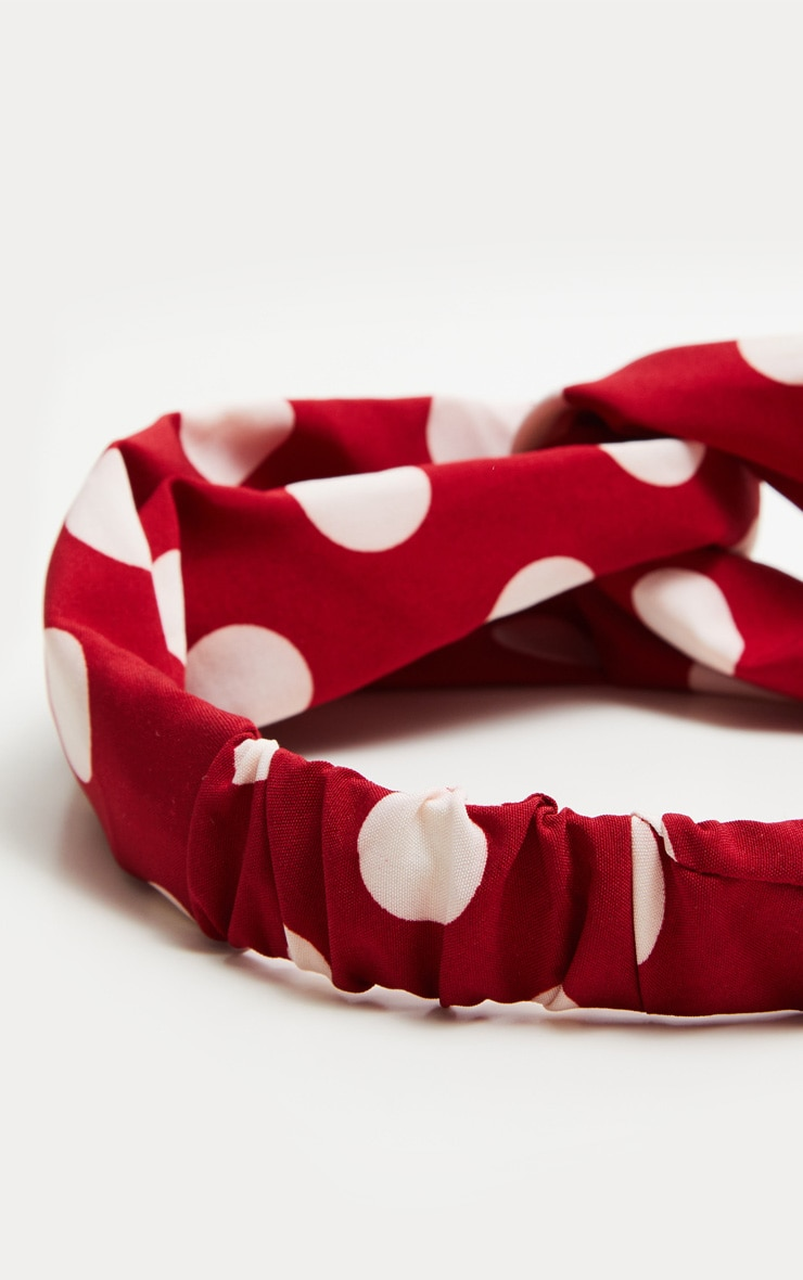 Red Polka Dot Twist Headband 3