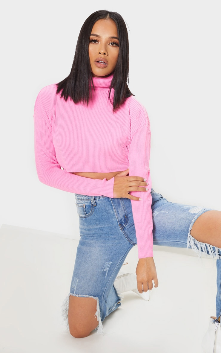 Pink Knitted Rib Cropped Roll Neck Jumper 1
