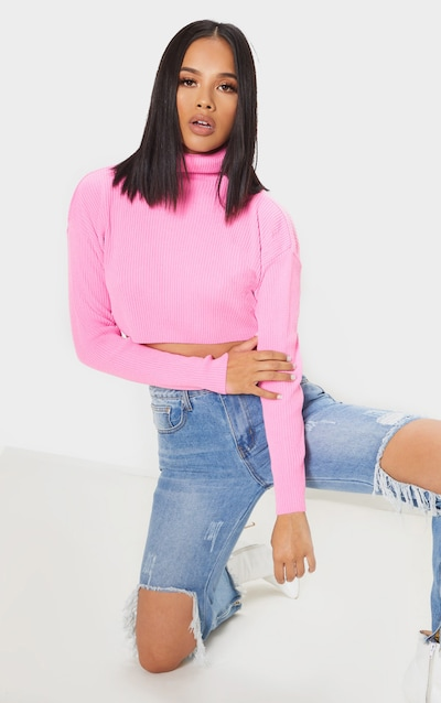 6ba7e2210e6 Pink Knitted Rib Cropped Roll Neck Jumper