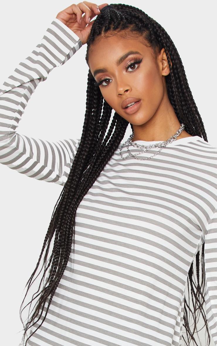 Grey Stripe Jersey Long Sleeve T Shirt 6