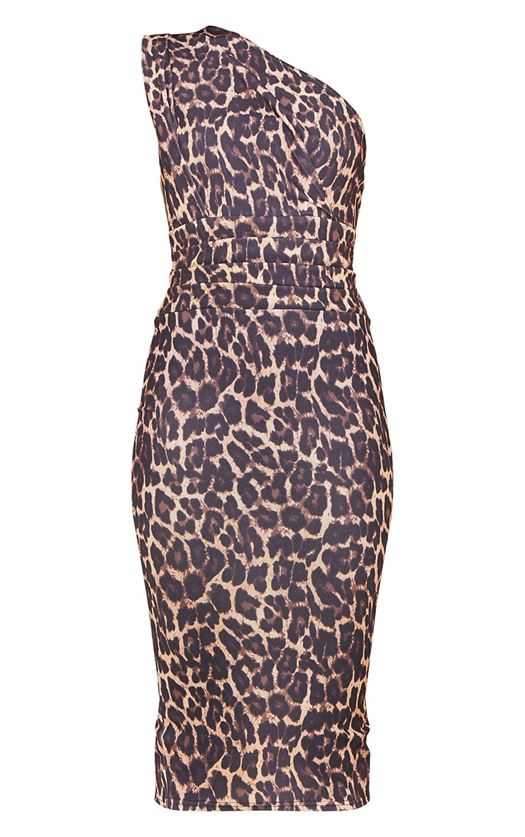 Tan Leopard Print One Shoulder Ruched Detail Midi Dress 5
