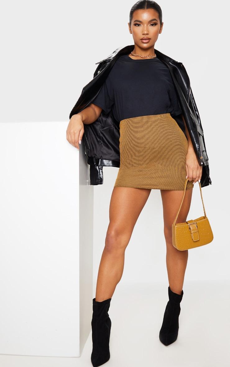 Camel Contrast Rib Mini Skirt 1