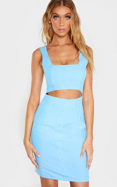 Tall Dusty Blue Button Detail Cut Out Dress