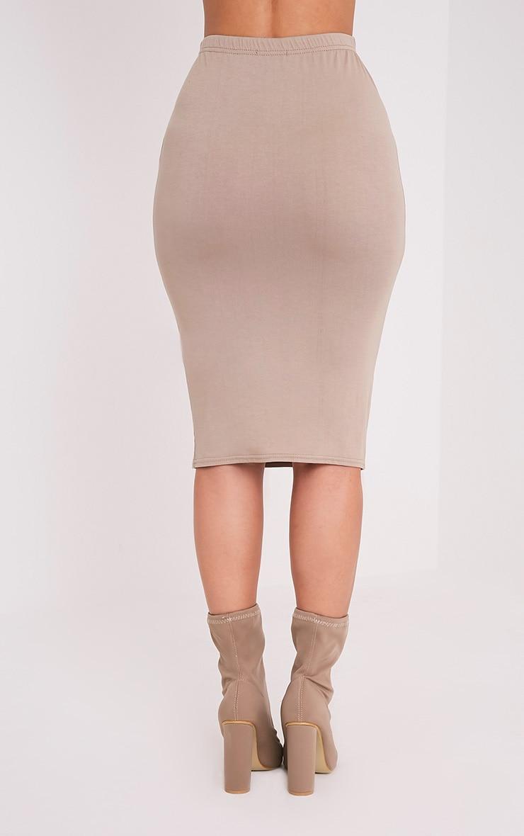Basic Taupe Jersey Midi Skirt 5