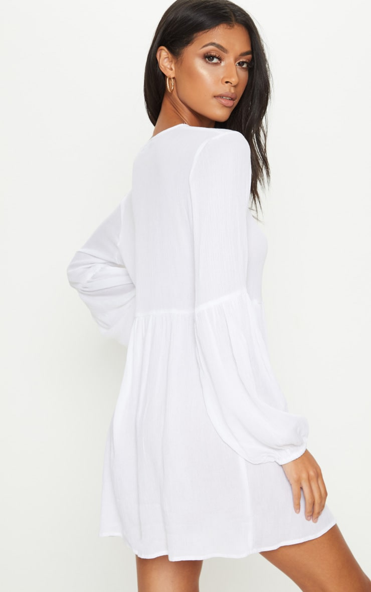 White Puff Sleeve Tie Detail Smock Dress 2