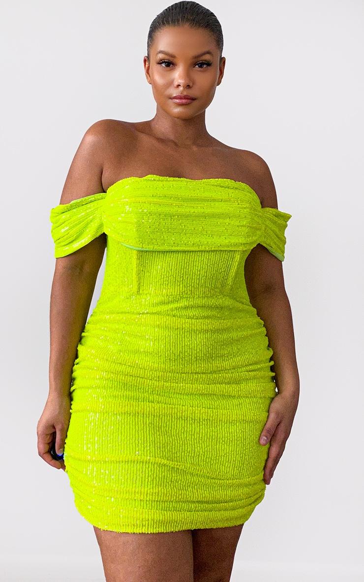 Plus Lime Sequin Bardot Bodycon Dress 1