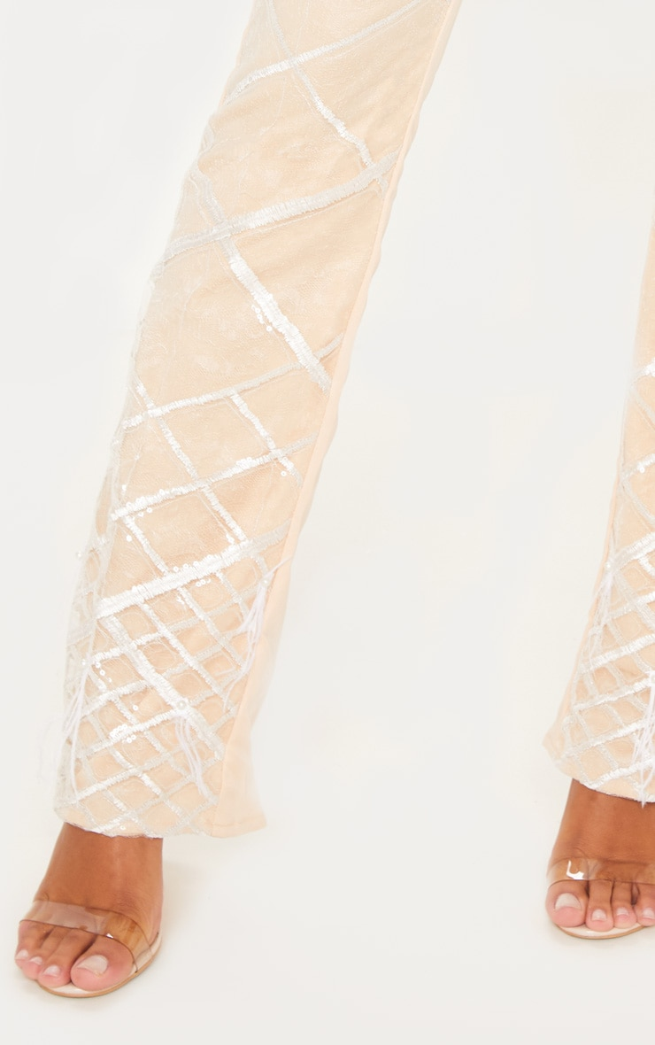 Nude Embroidered Sequin Flared Pants 5