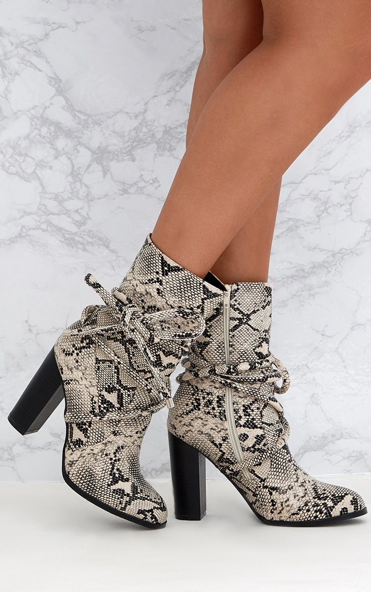 Grey Snake Print Tie Detail Heeled Ankle Boots 1