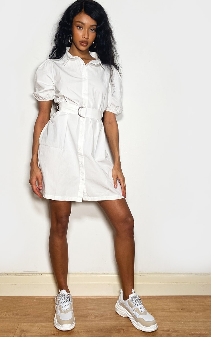 White Short Puff Sleeve Shirt Dress 3