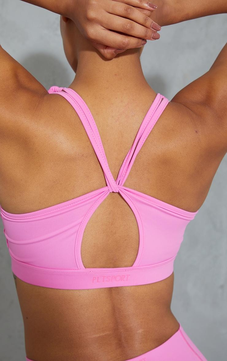 Pink Strappy Twist Back Sports Bra 4