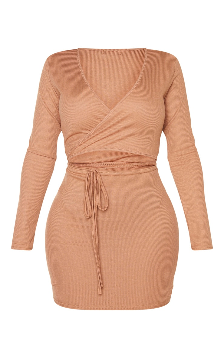 Shape - Robe moulante portefeuille camel côtelée à lien nouable 3