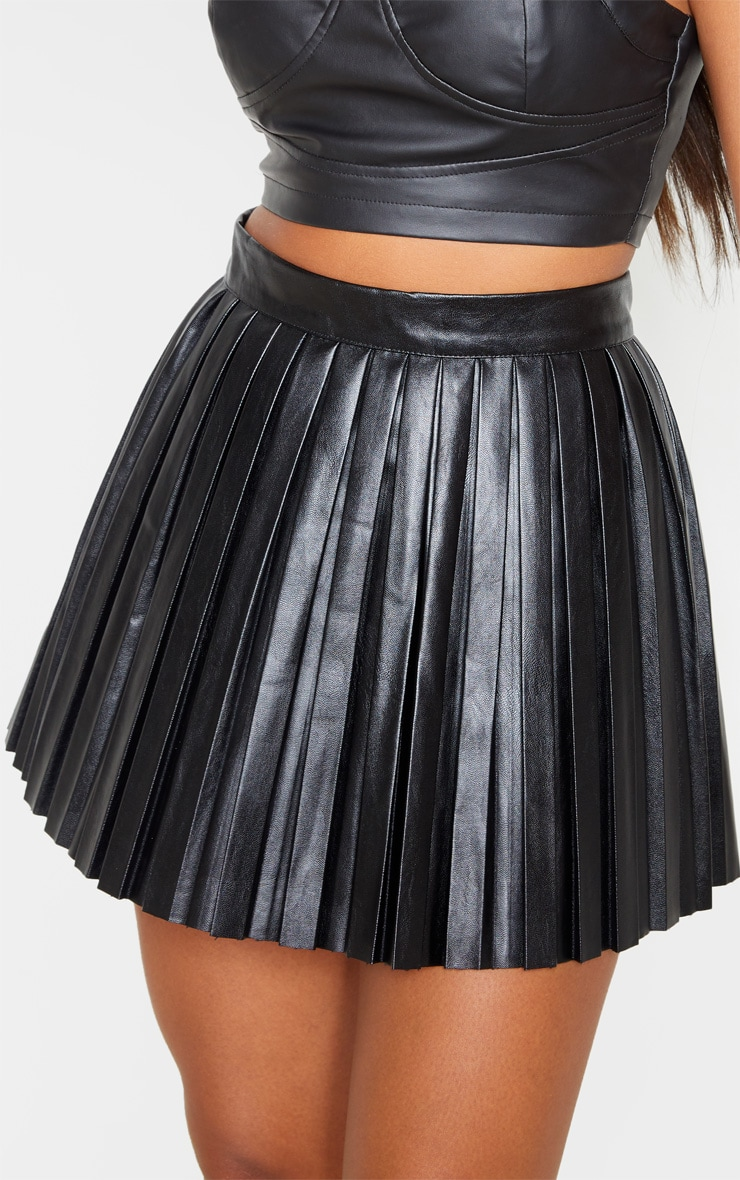 Black Faux Leather Pleated Skater Skirt 6