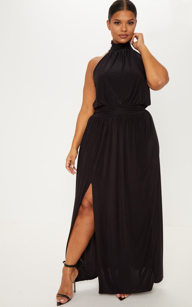1690f3e0a7b Plus Black Asymmetric Drape Split Side Maxi Dress image 1